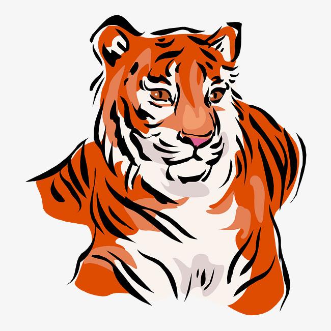 卡通可爱小动物装饰设计动物头像老虎