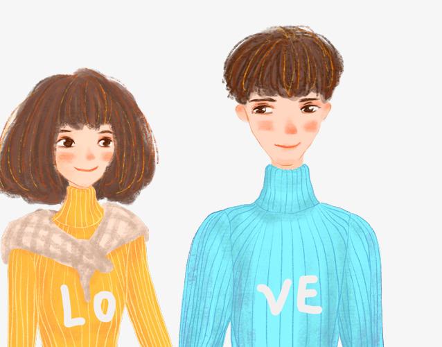 情人节手绘插画牵手的情侣