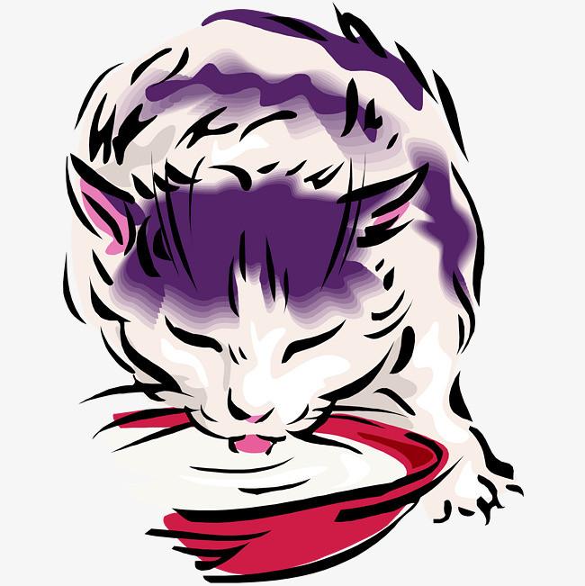卡通可爱小动物装饰设计动物头像手绘猫咪