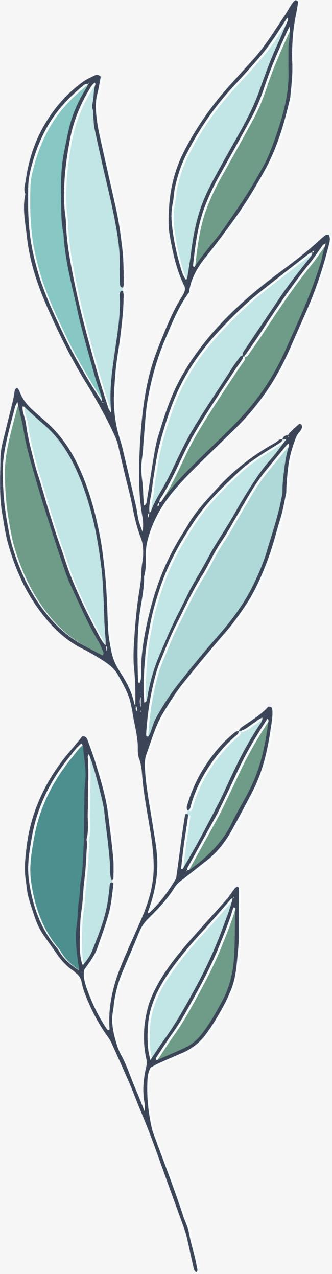 卡通绿叶装饰手绘文艺小清新