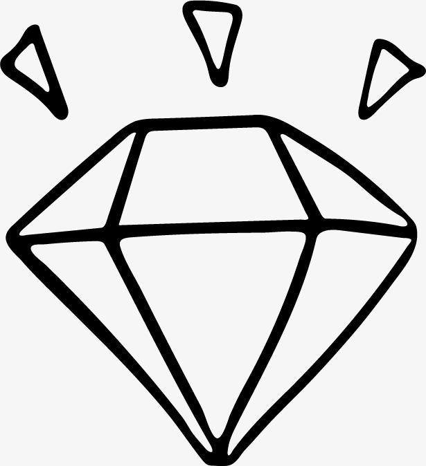 卡通简约黑白插画小清新钻石