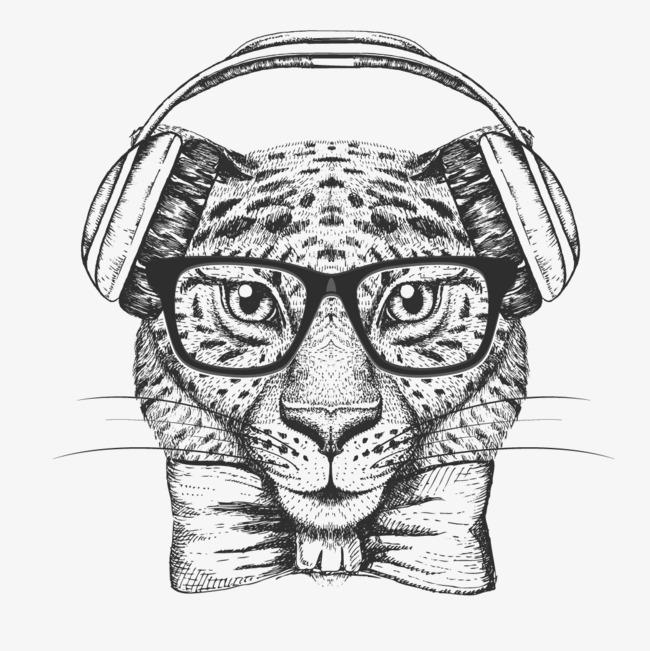 卡通可爱小动物装饰设计动物头像素描猫咪