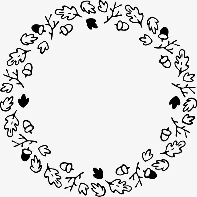 可爱小清新装饰海报装饰黑白花环