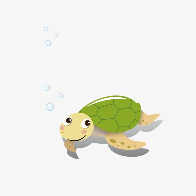 乌龟 海龟 彩绘 卡通 动物 海洋 气泡 矢量图免扣素材 手机端:吐泡泡
