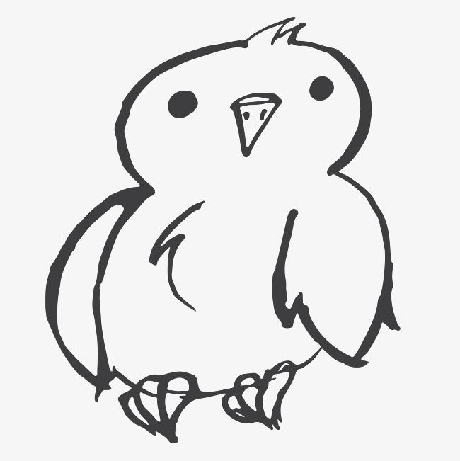 卡通简约黑白插画小清新猫头鹰