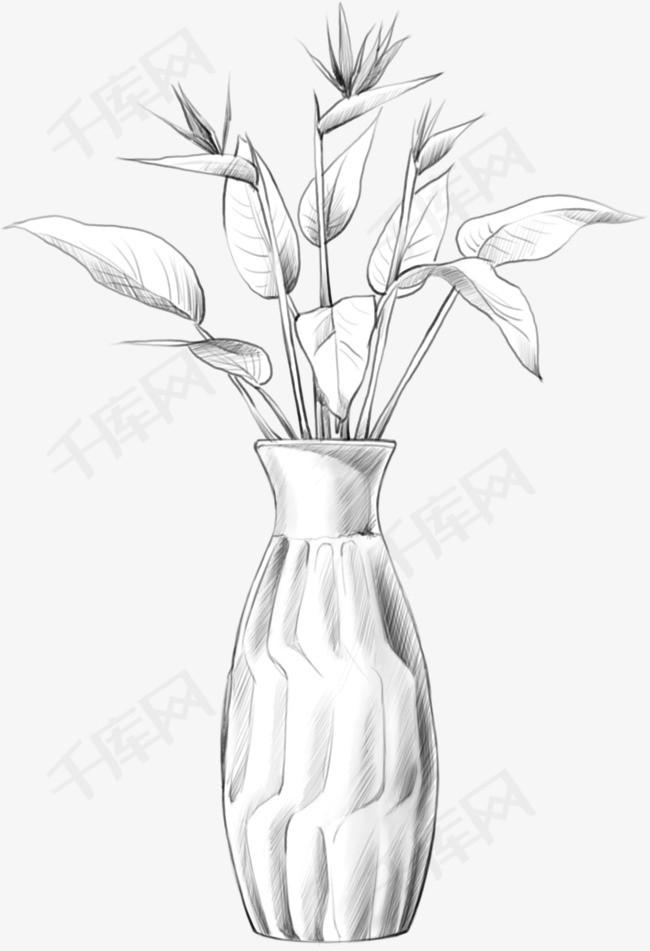 卡通手绘插花花瓶花瓶插画卡通手绘铅笔画铅笔纹理黑白素描-卡通手