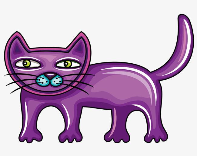 一只紫色的卡通小猫图片