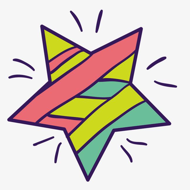 彩色手绘线稿五角星卡通插画