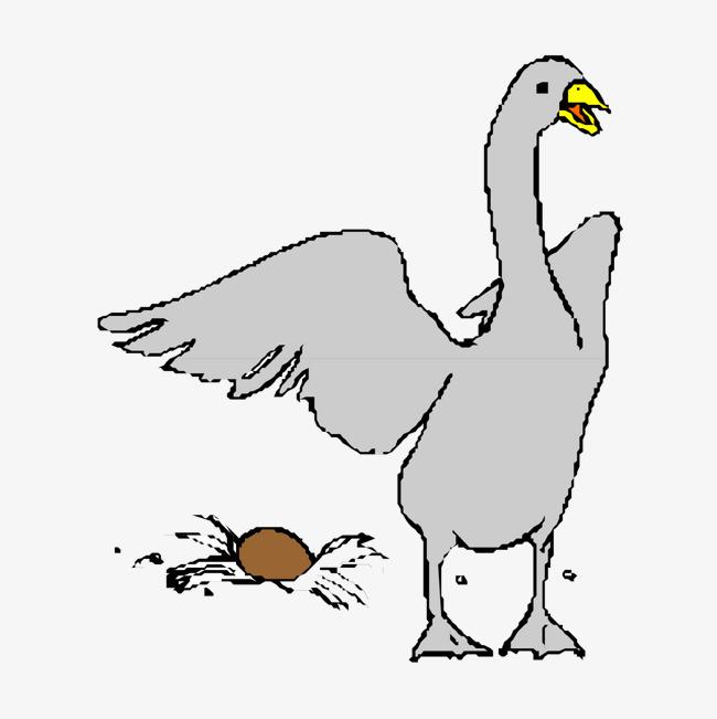 卡通手绘文艺简约动物水粉画鸭子