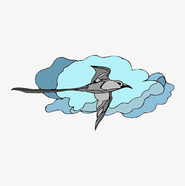 卡通手绘文艺简约动物水粉画小鸟png素材下载_高清png