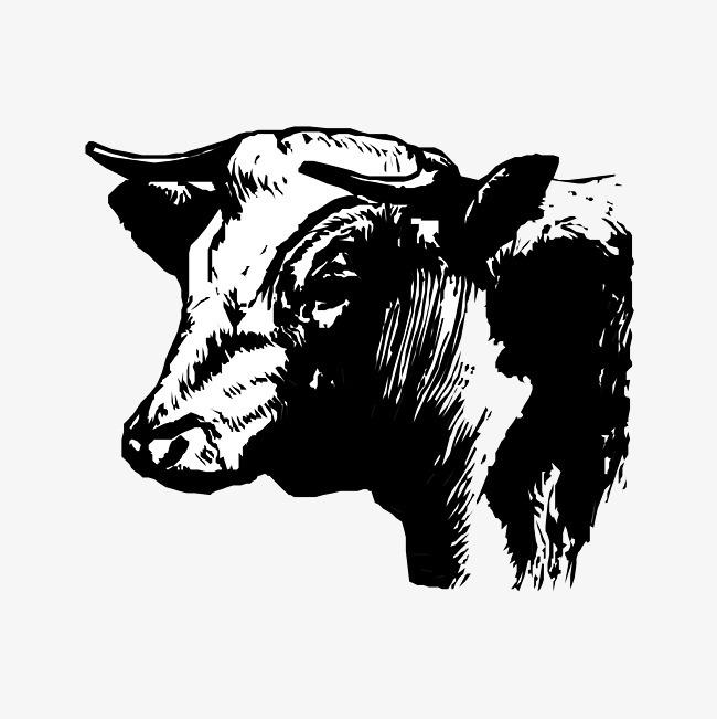 卡通可爱小动物装饰设计动物头像牛
