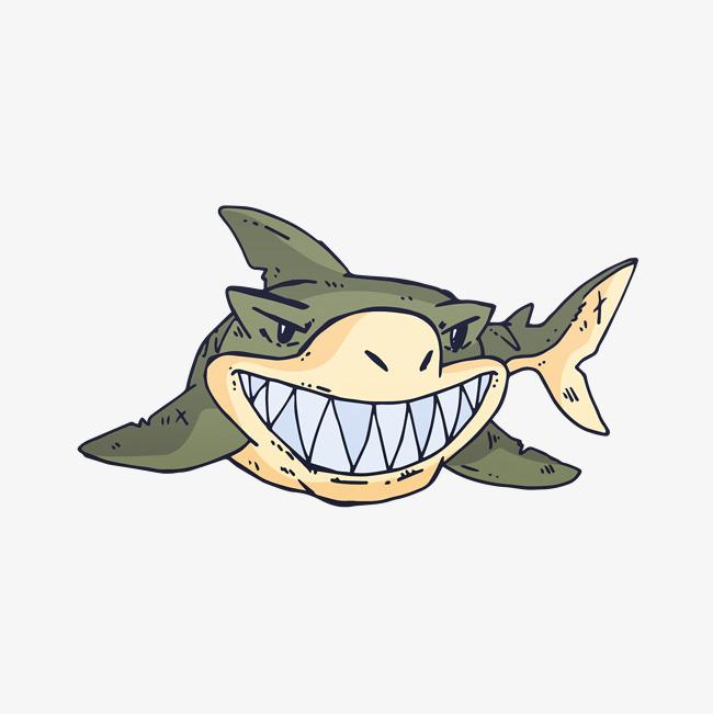 卡通手绘文艺简约动物水粉画鲨鱼