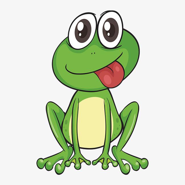 吐舌头的卡通绿色青蛙图片