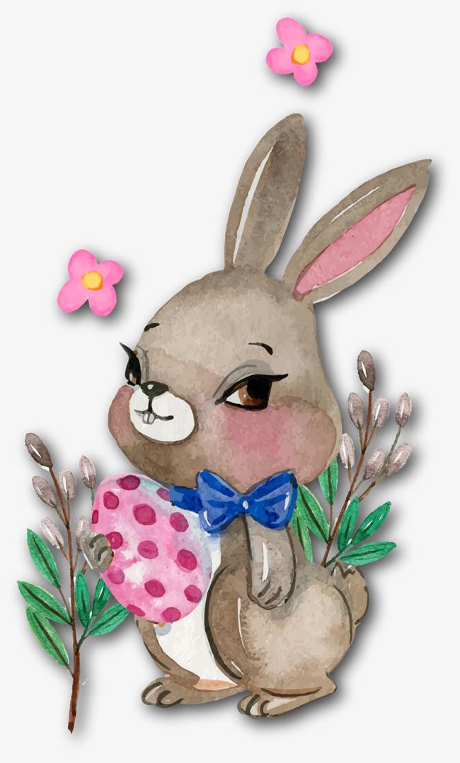 手绘可爱棕色兔子