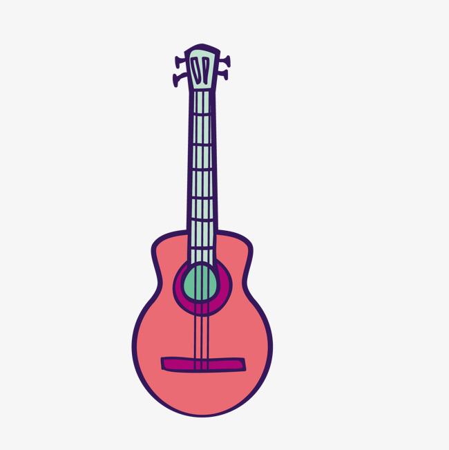 彩色手绘线稿吉他元素