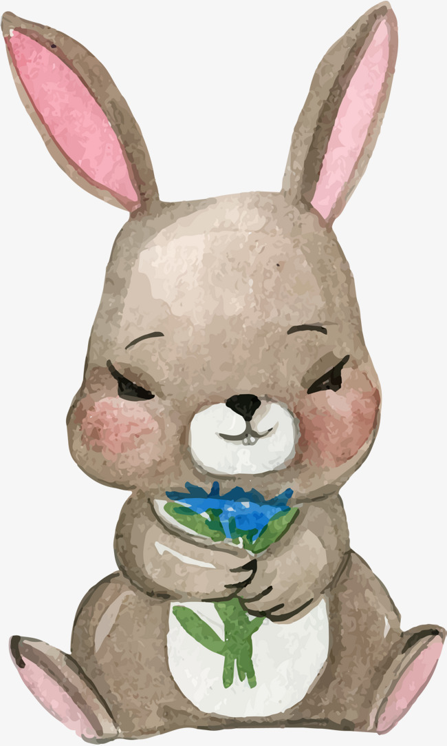 手绘可爱黄色兔子