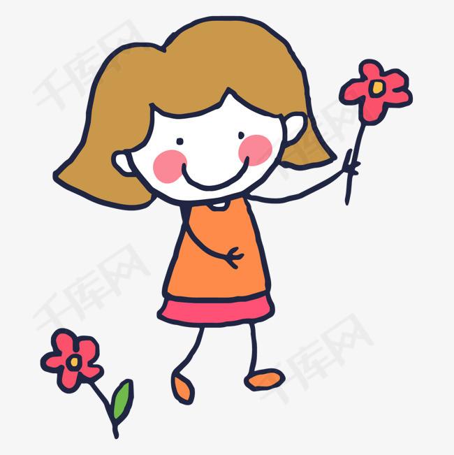 送花的可爱卡通女生图片