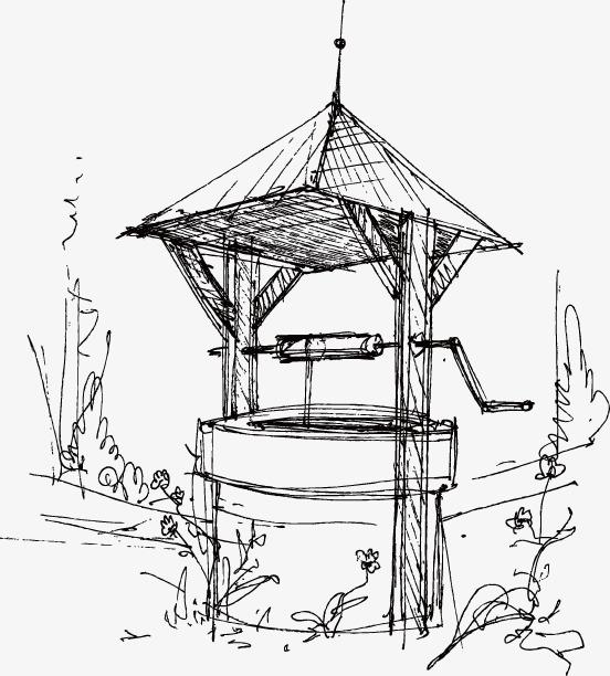 素描古代水井手绘图