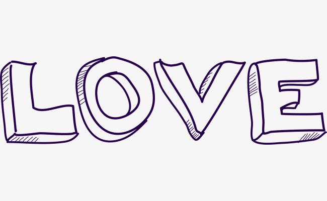 紫色立体love艺术字