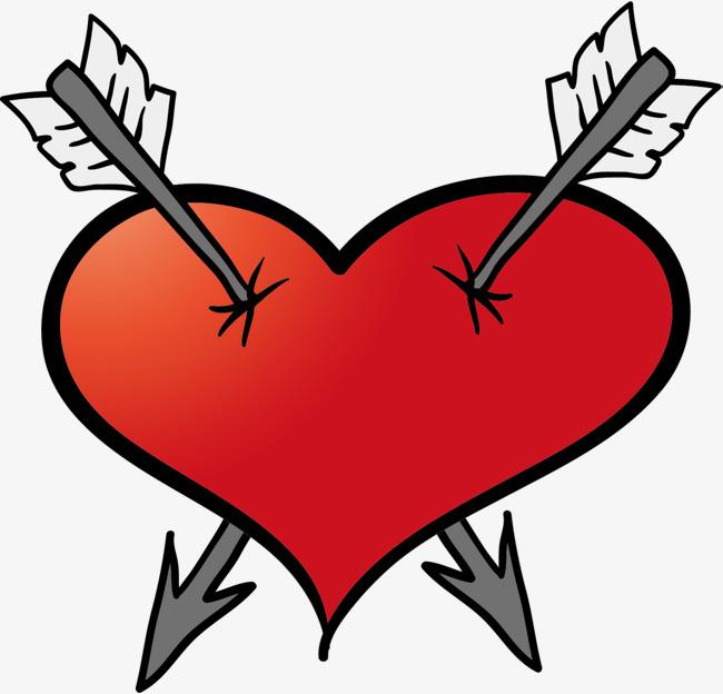 情人节红色中箭爱心