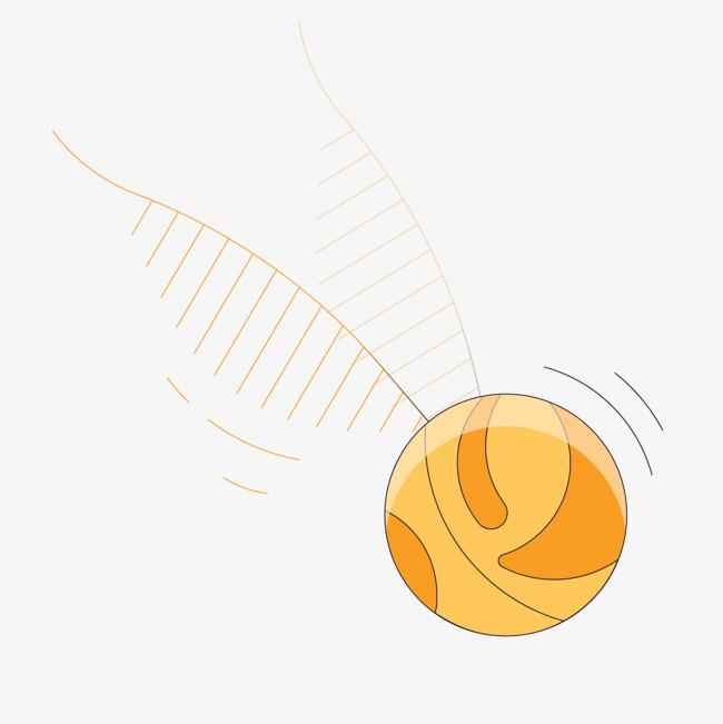 黄色手绘线稿滚动的球形