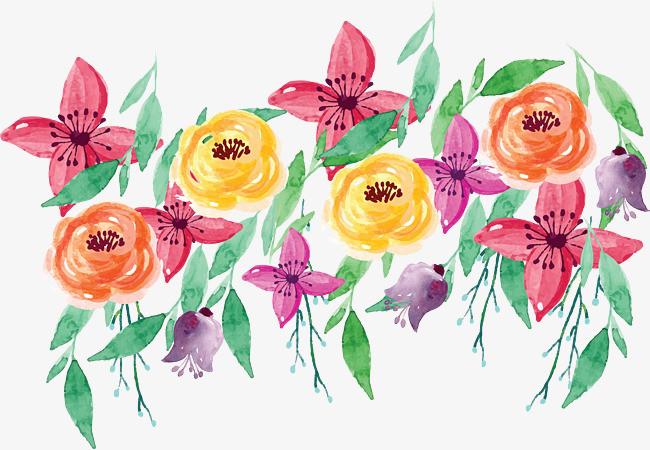 水彩手绘浪漫花丛