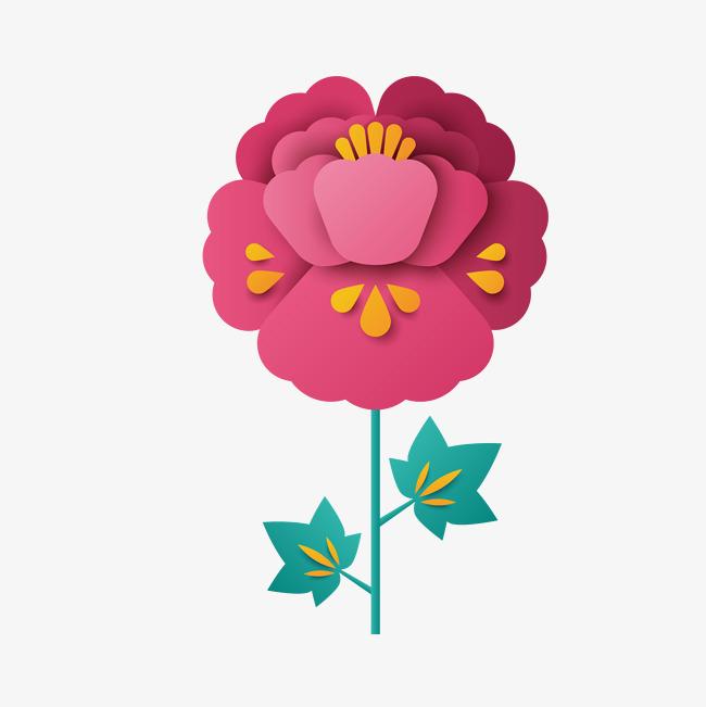 矢量手绘粉色鲜花