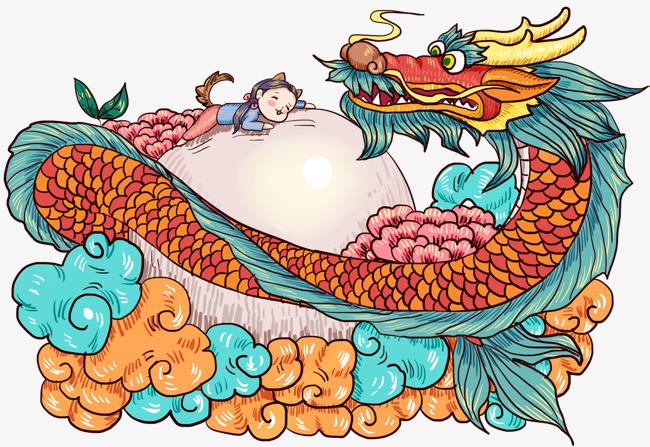 手绘元宵节中国龙插画素材