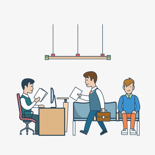 矢量手绘办公室场景png素材下载_高清图片png格式(:)-图片
