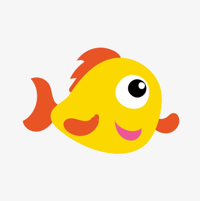 卡通黄色小鱼矢量图图片