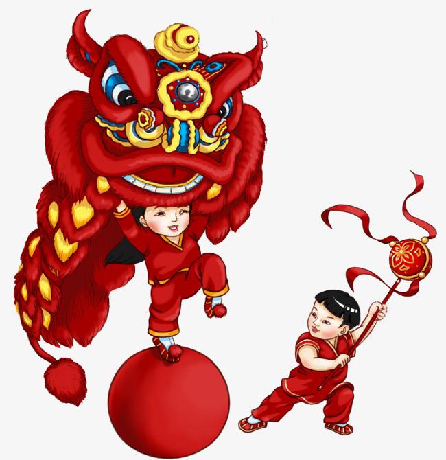 新春舞狮手绘插画