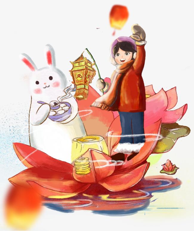元宵节放河灯装饰手绘插画素材