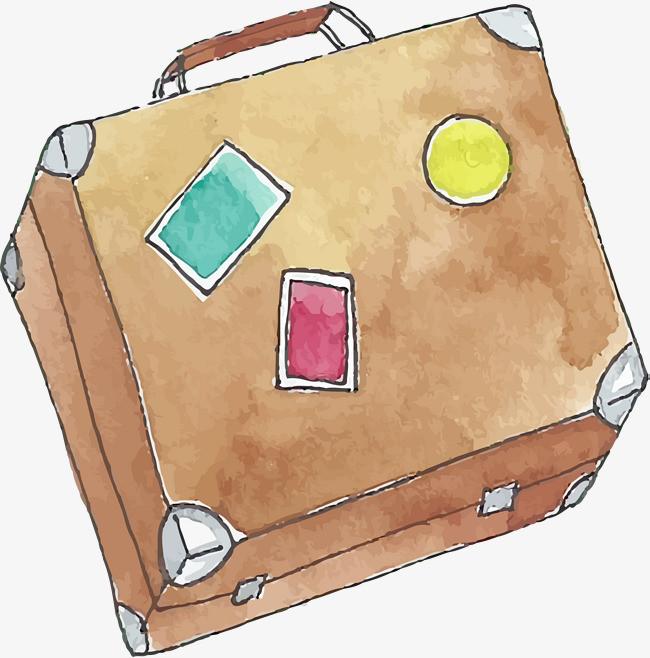 水彩手绘行李箱手提箱