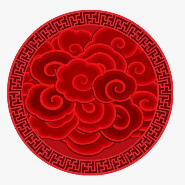 中国风大红色圆形祥云