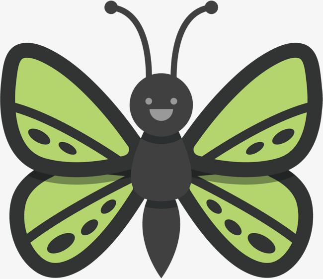 矢量图绿色翅膀的蝴蝶