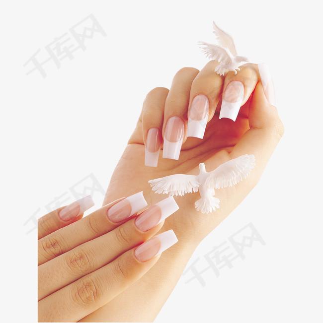 美甲的修长手指免抠图手掌白色美甲指甲剪指甲手指甲美甲美颜女性女人修长的手指