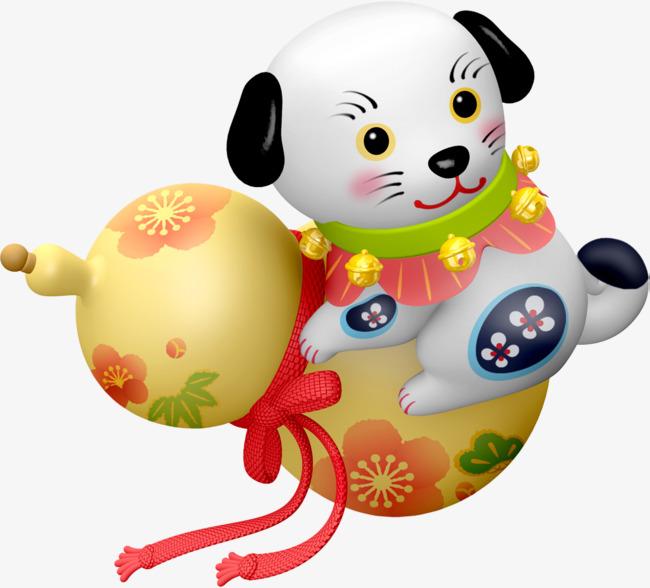 卡通抱着葫芦的小狗图片