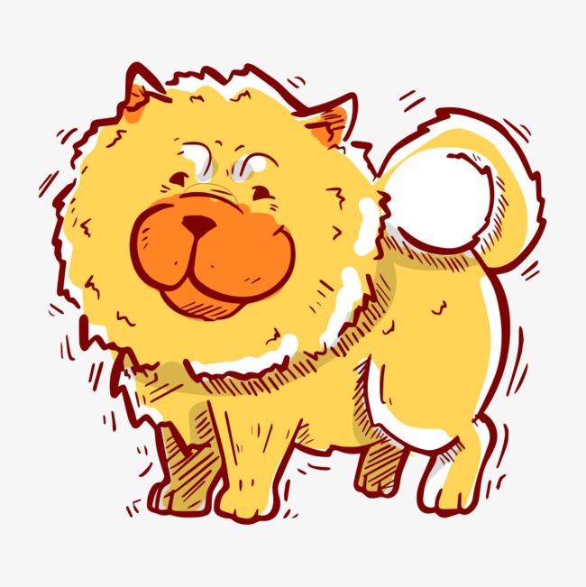 手绘可爱金毛狗狗形象