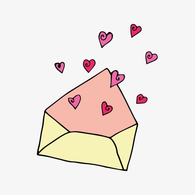 手绘粉红信封节日元素图片