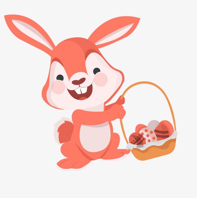 卡通提篮子的兔子矢量图片