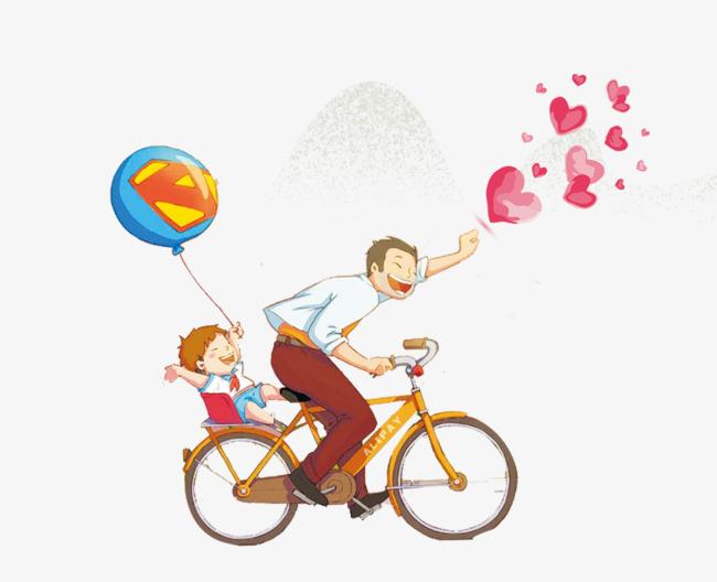 免抠卡通手绘骑车的爸爸带着孩子图片