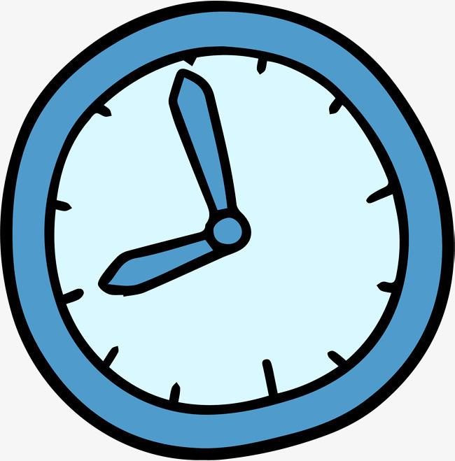 卡通蓝色简笔画钟表图片