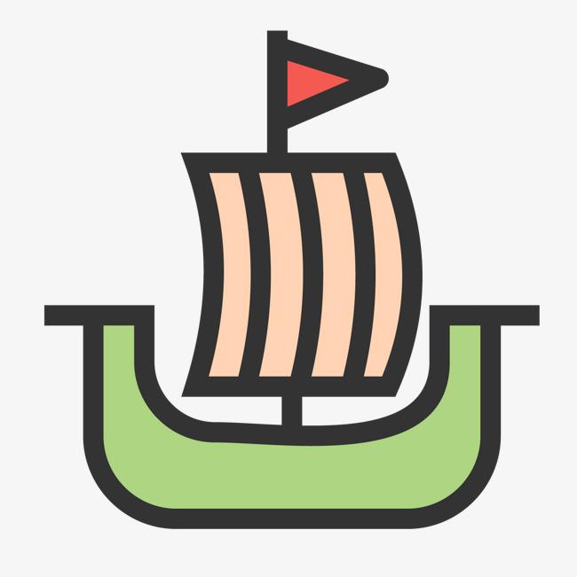 彩色手绘帆船元素