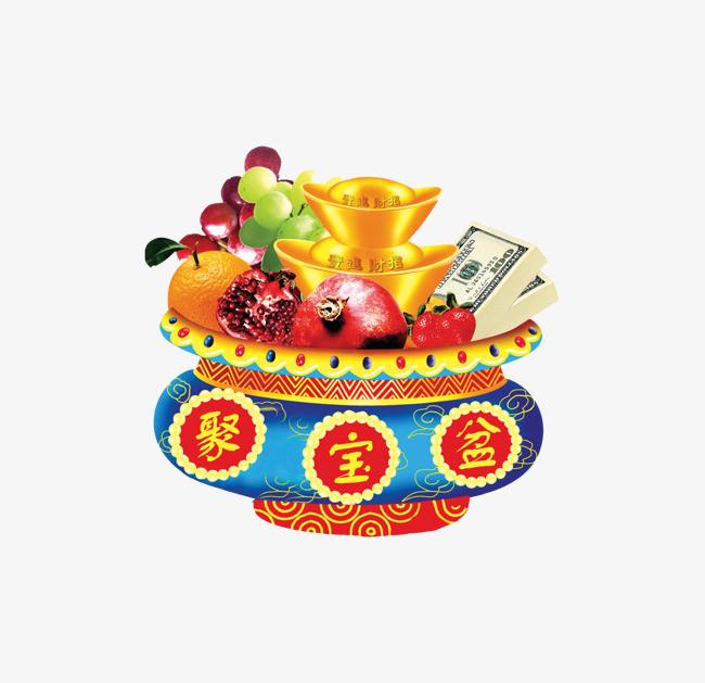 新年装饰聚宝盆png图片