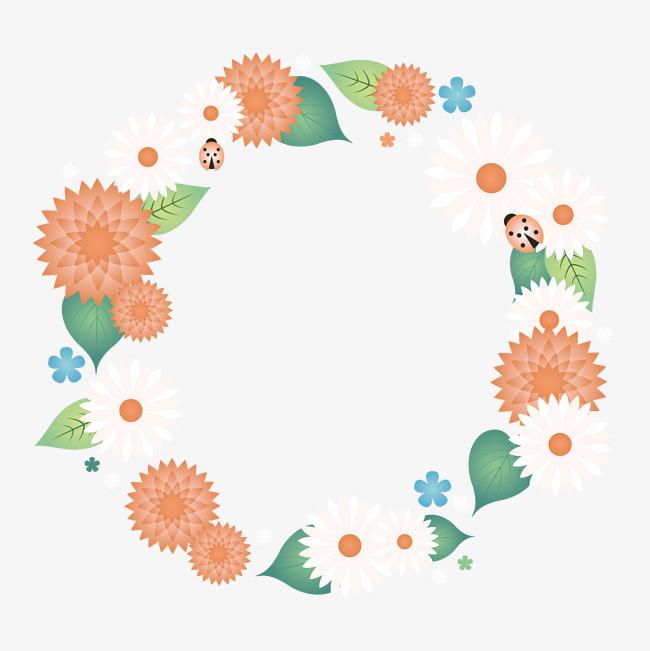 卡通花朵手绘小清新圆环矢量图