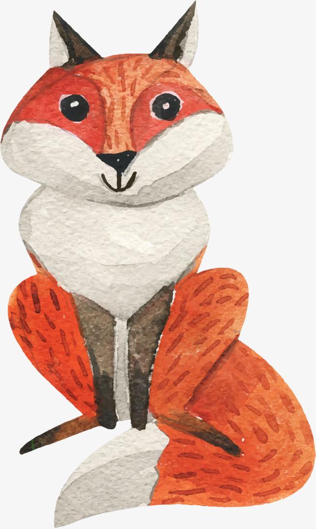 手绘可爱红色狐狸