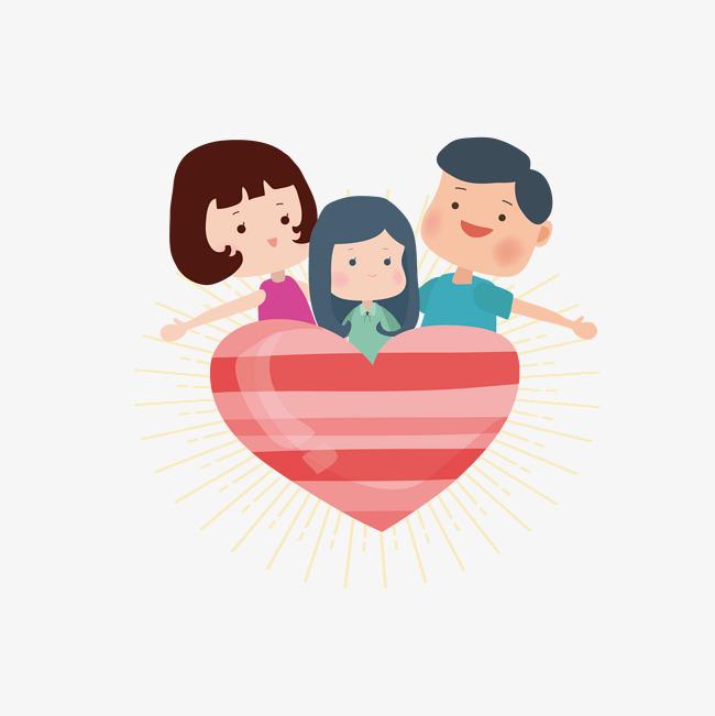 矢量手绘温馨一家人