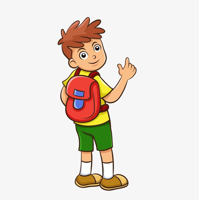 矢量手绘卡通背书包上学小男生