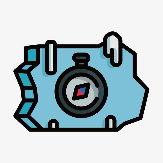 蓝色手绘指南针元素