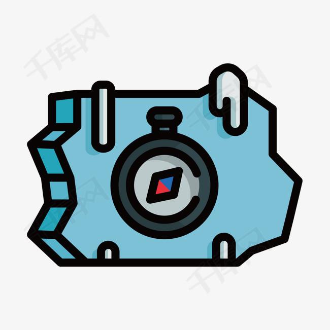 蓝色手绘指南针元素蓝色手绘指南针冰块扁平化立体方向指示卡通插画